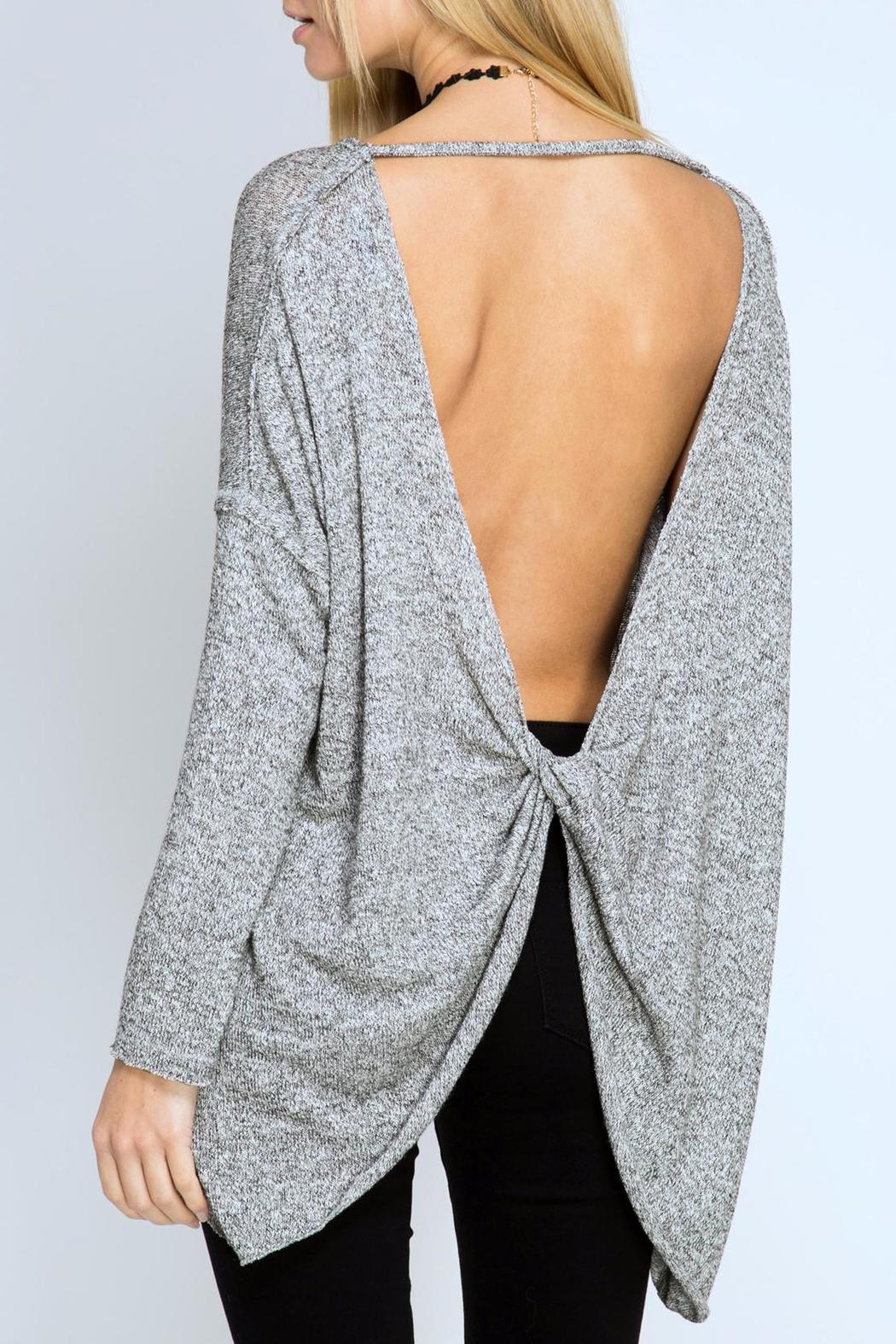 she sky open twist back sweater from seattle by simply chic