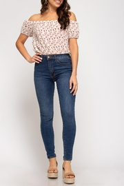She + Sky Ots Floral Crop - Front full body