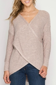 She + Sky Overlapping Sweater - Front cropped