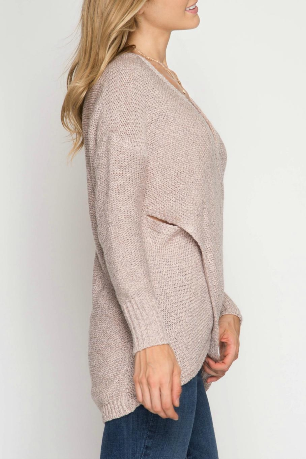 She + Sky Overlapping Sweater - Front Full Image