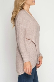 She + Sky Overlapping Sweater - Front full body