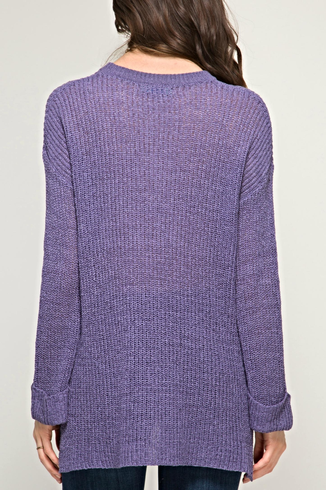 She + Sky Passionate Purple Sweater - Front Full Image