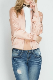She + Sky Peach Blush Bomber Jacket - Front cropped