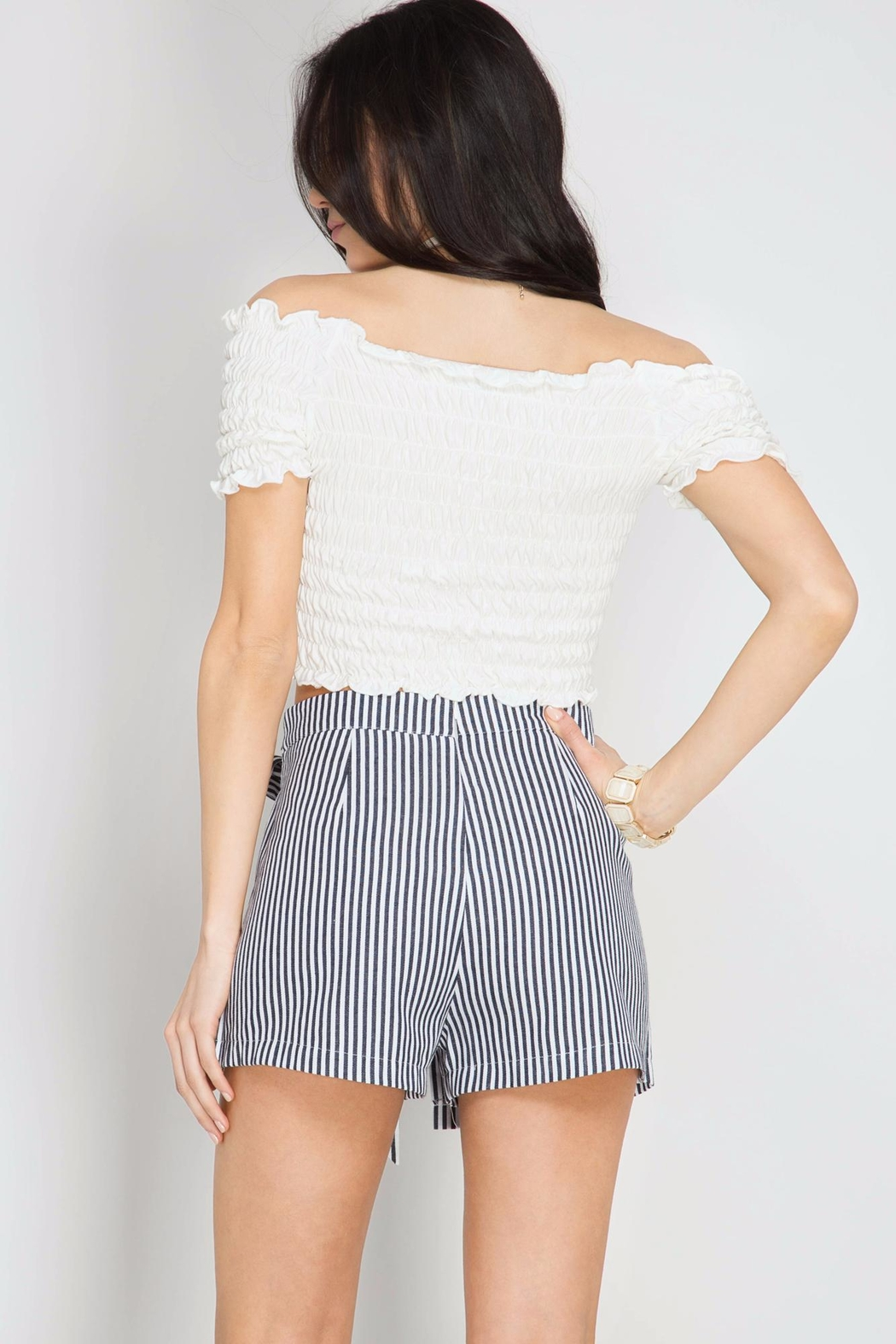 She + Sky Peekaboo Striped Shorts - Front Full Image