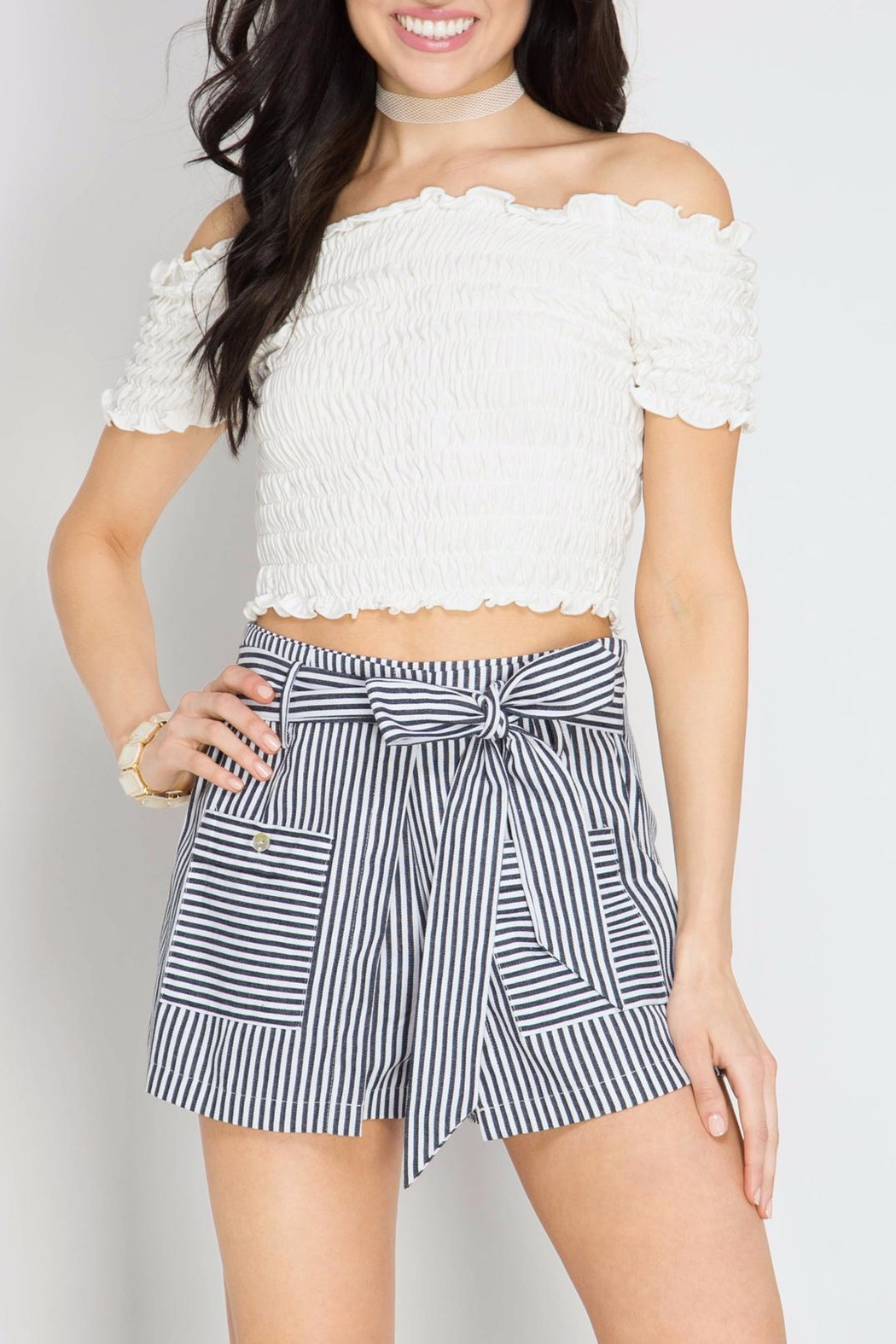 She + Sky Peekaboo Striped Shorts - Front Cropped Image