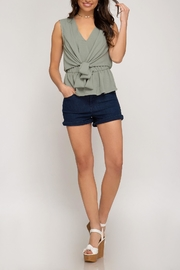 She + Sky Peplum Tie Top - Product Mini Image