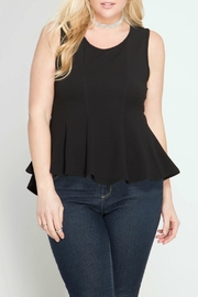 She + Sky Peplum Top - Front cropped