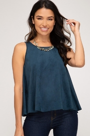 She + Sky Petal Top Teal - Product Mini Image