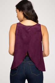 She + Sky Petal Top Wine - Front full body