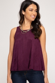 She + Sky Petal Top Wine - Front cropped