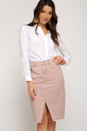 She + Sky Pink Denim Skirt - Front cropped
