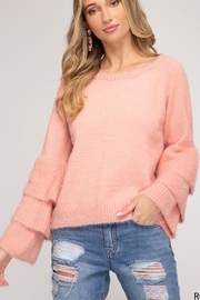 She + Sky Pink Fuzzy Sweater - Product Mini Image