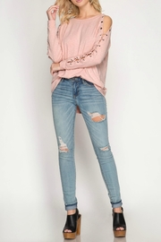 She + Sky Pink Laced Top - Product Mini Image