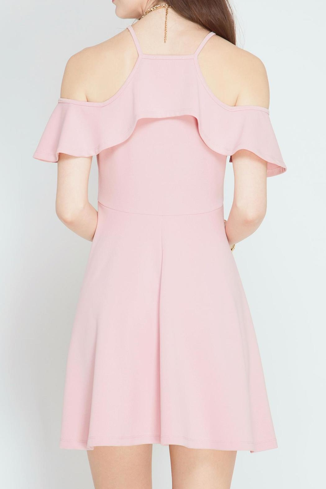 She + Sky Pink Petal Dress - Side Cropped Image