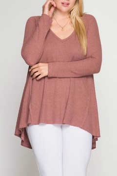 She + Sky Pink Thermal Top - Product List Image