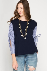 She + Sky Pinstriped Sweater Top - Product Mini Image