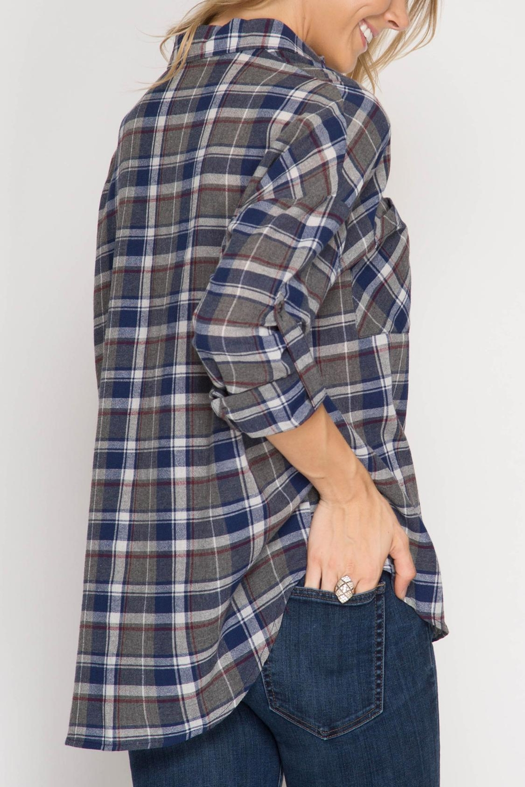 She + Sky Plaid Button Down - Front Full Image
