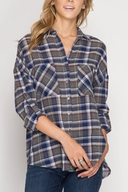 She + Sky Plaid Button Down - Front cropped