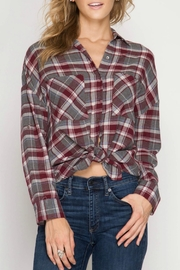 She + Sky Plaid Collared Shirt - Product Mini Image