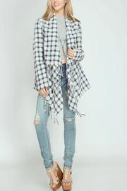 She + Sky Plaid Fringe Cardigan - Product Mini Image