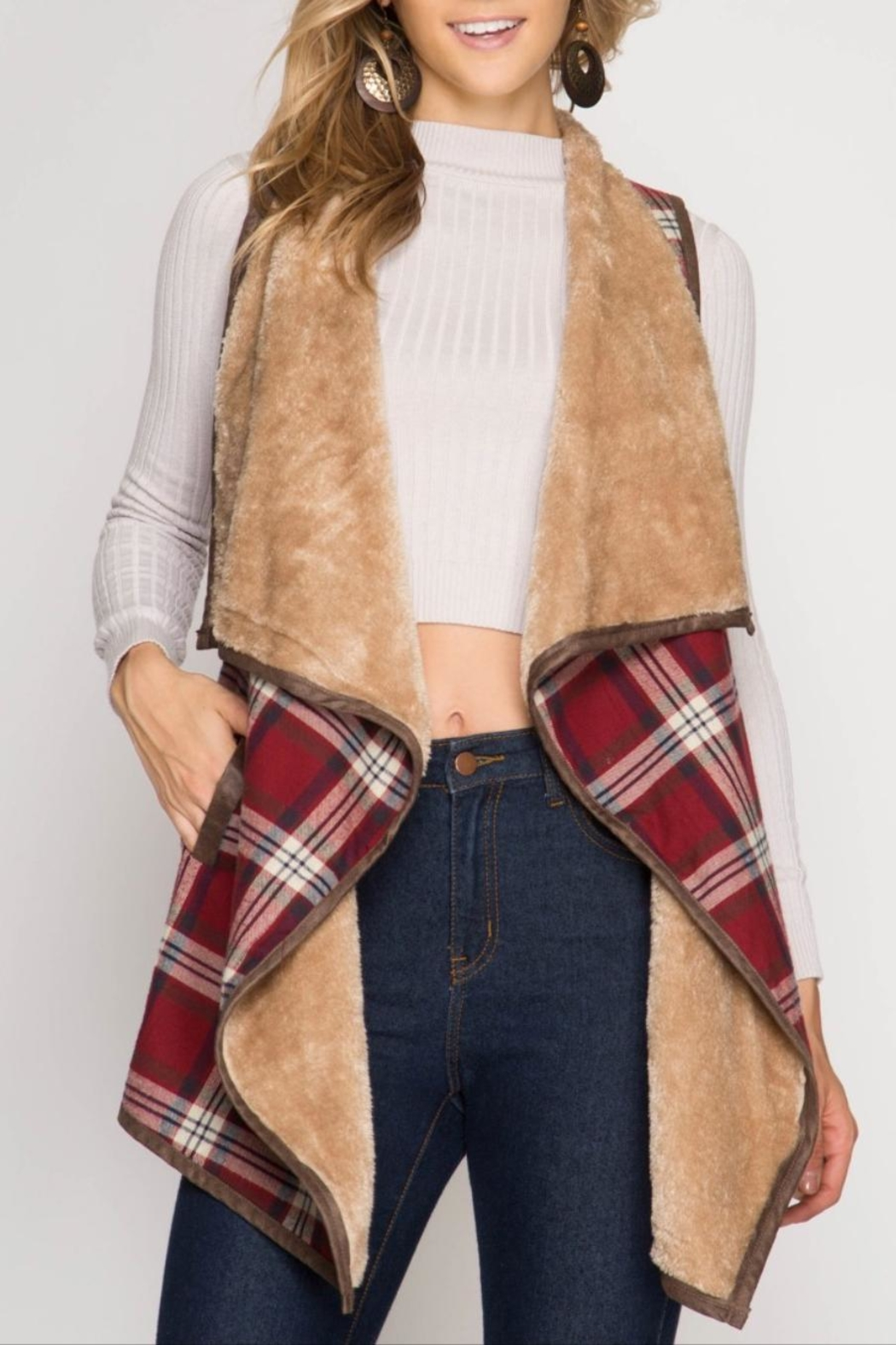 She + Sky Plaid Fur Vest - Main Image