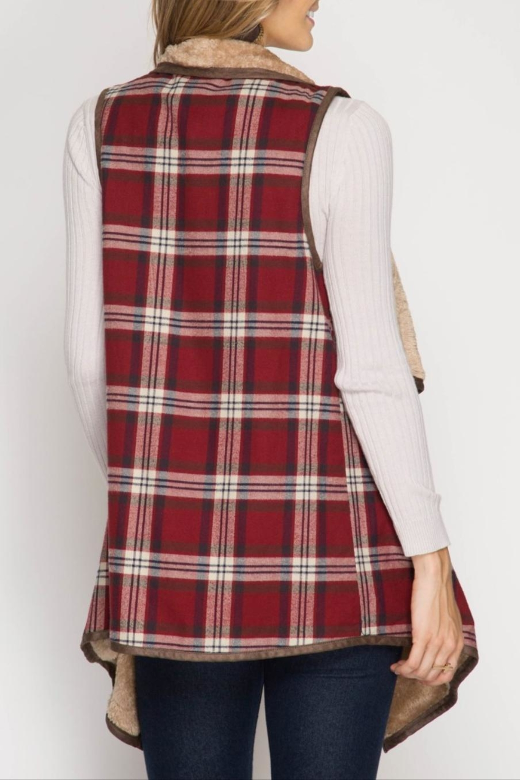 She + Sky Plaid Fur Vest - Front Full Image