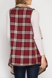 She + Sky Plaid Fur Vest - Front full body