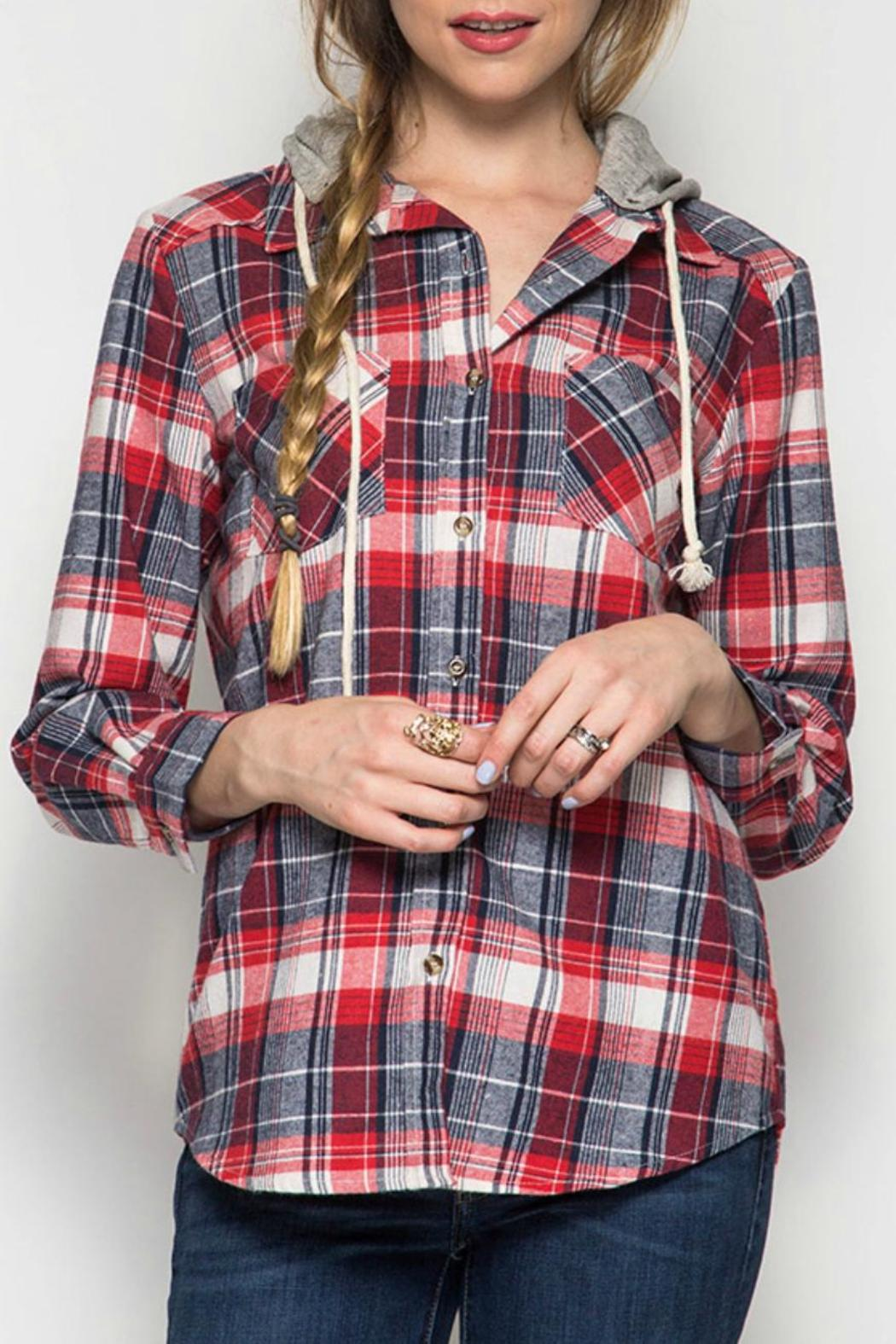 She + Sky Plaid Hooded Jacket - Front Cropped Image