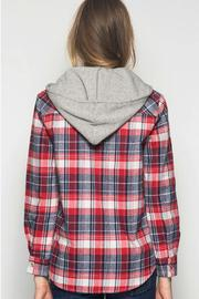 She + Sky Plaid Hooded Jacket - Front full body