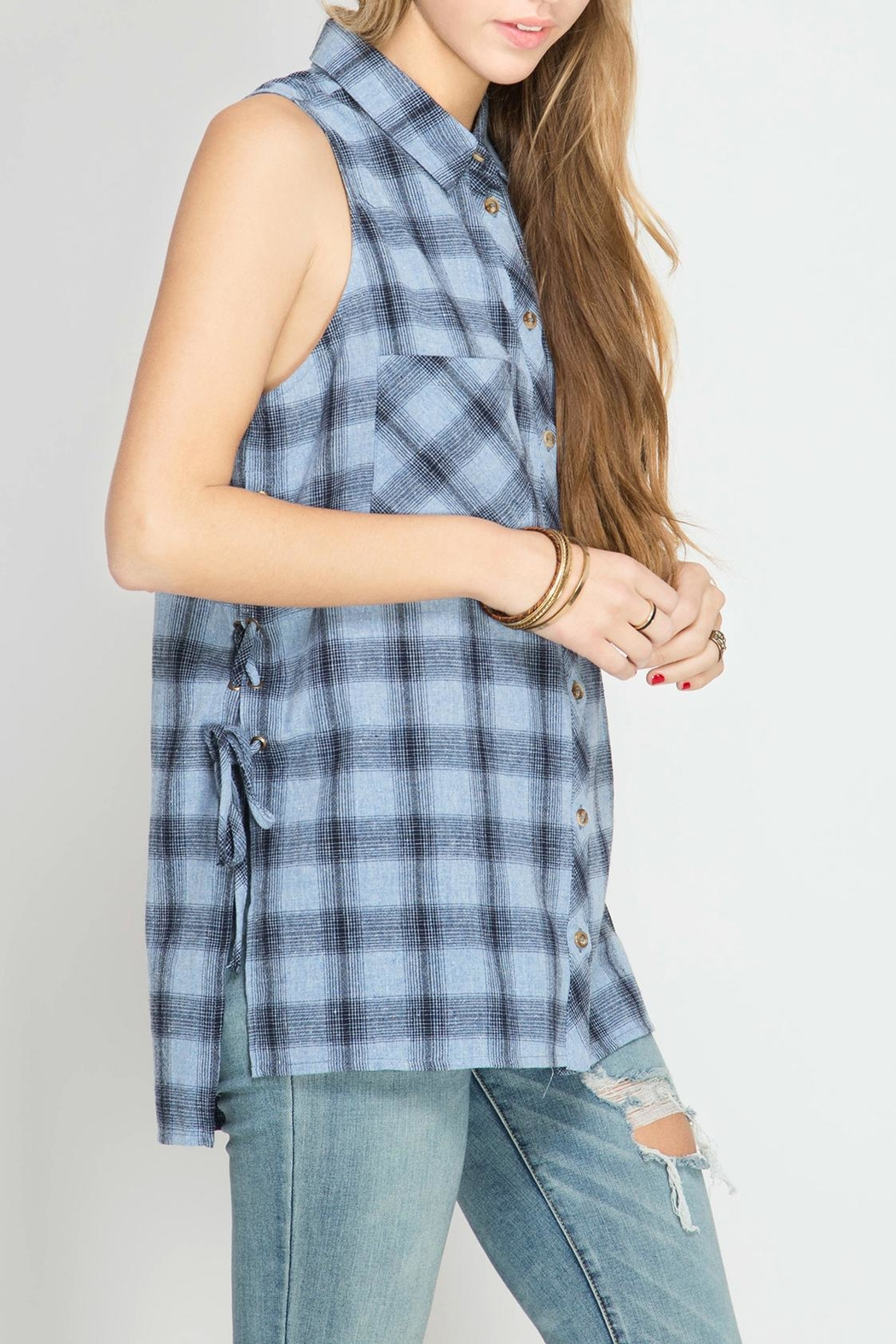 She + Sky Plaid Lace Up Tank - Front Full Image