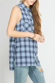 She + Sky Plaid Lace Up Tank - Front full body