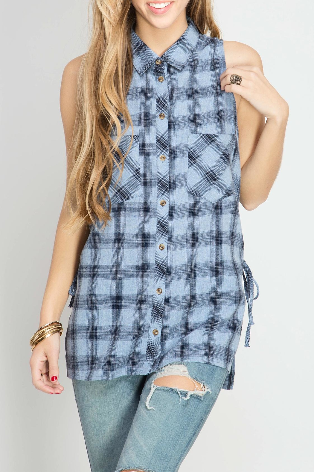 She + Sky Plaid Lace Up Tank - Front Cropped Image
