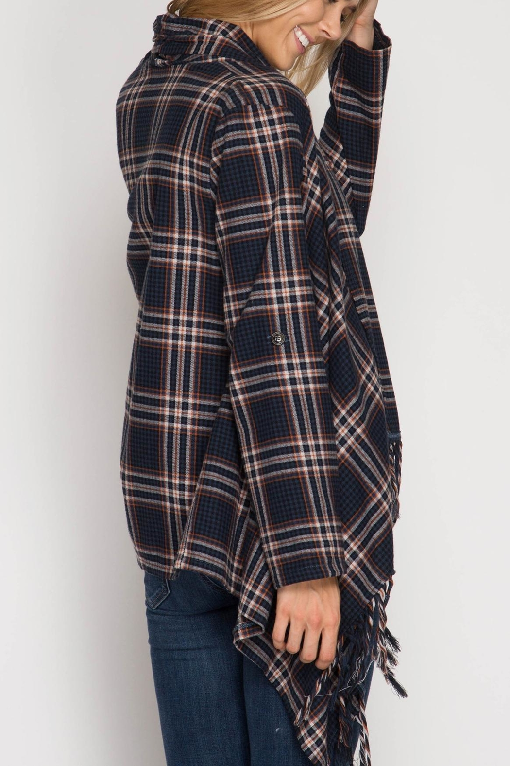She + Sky Plaid Open Cardigan - Front Full Image