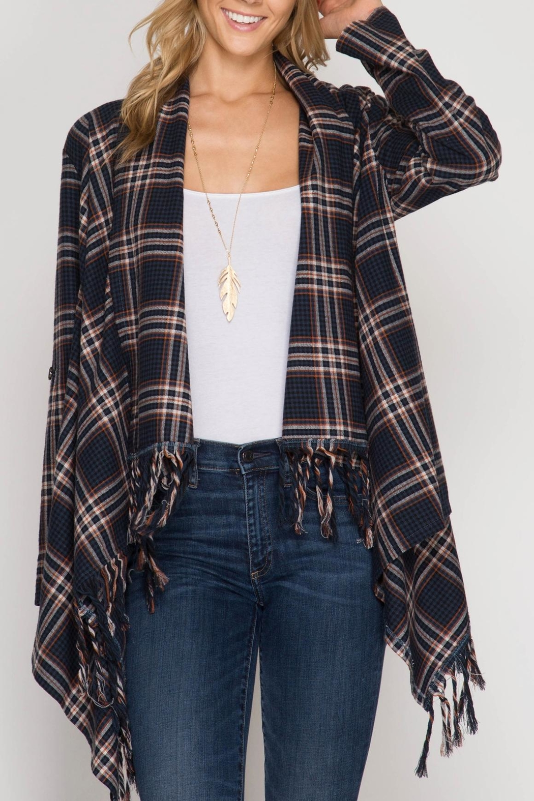 She + Sky Plaid Open Cardigan - Front Cropped Image