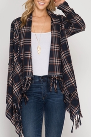She + Sky Plaid Open Cardigan - Front cropped
