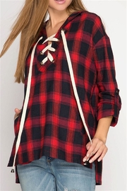 She + Sky Plaid Print Top - Front cropped