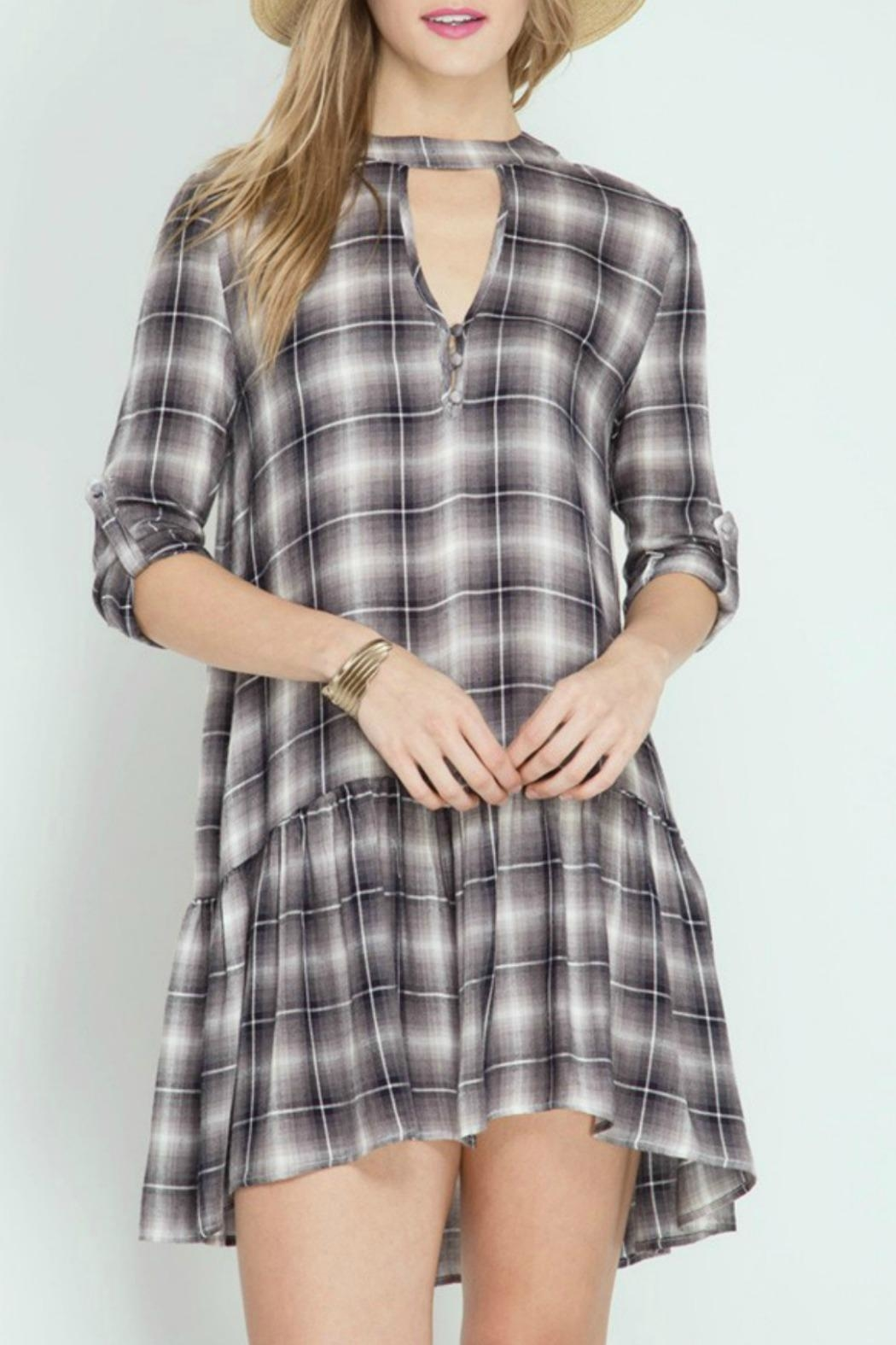 She + Sky Plaid Ruffle Dress - Front Cropped Image