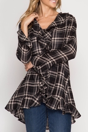 She + Sky Plaid Ruffled Cardigan - Front cropped