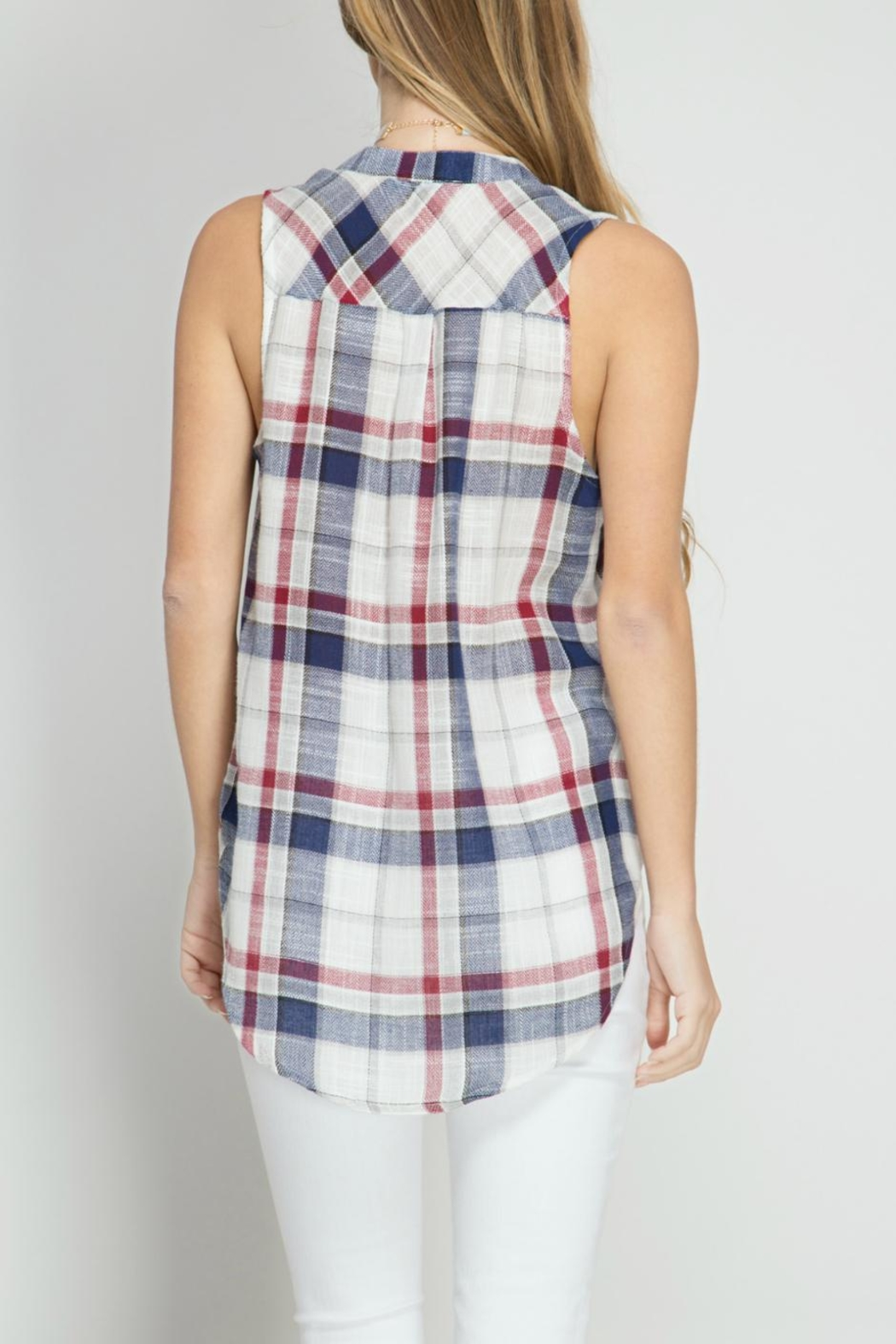 She + Sky Plaid Sleeveless Top - Front Full Image