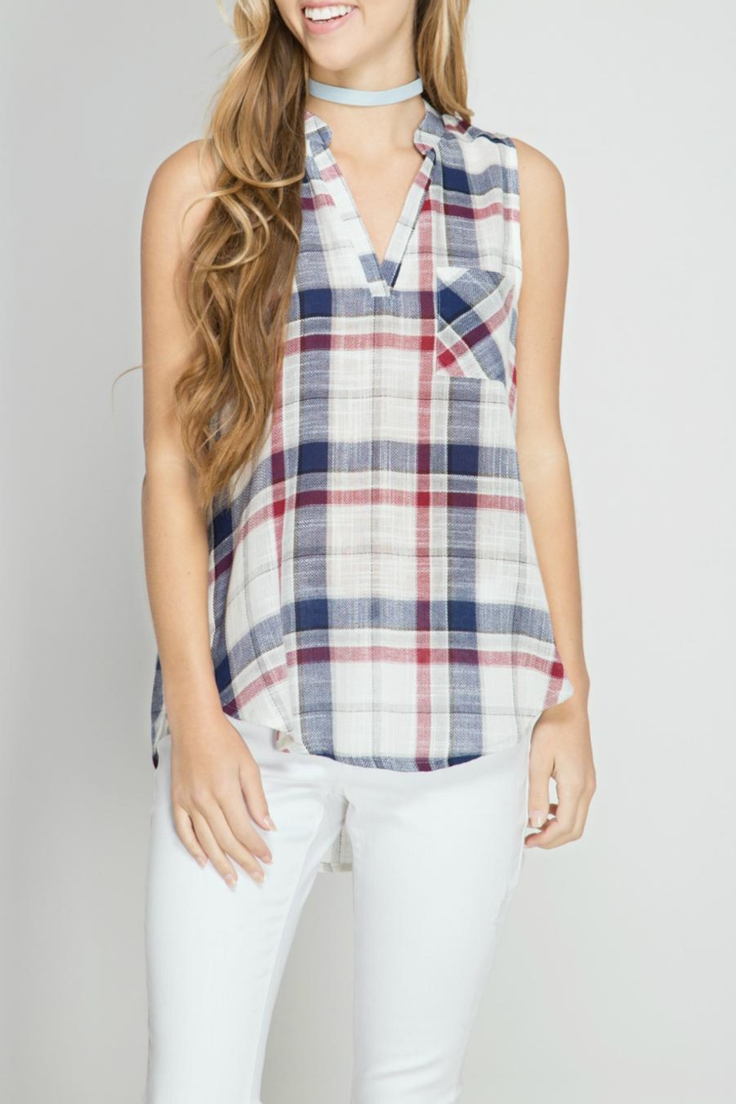 She + Sky Plaid Sleeveless Top - Front Cropped Image