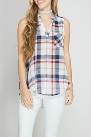 She + Sky Plaid Sleeveless Top - Product Mini Image