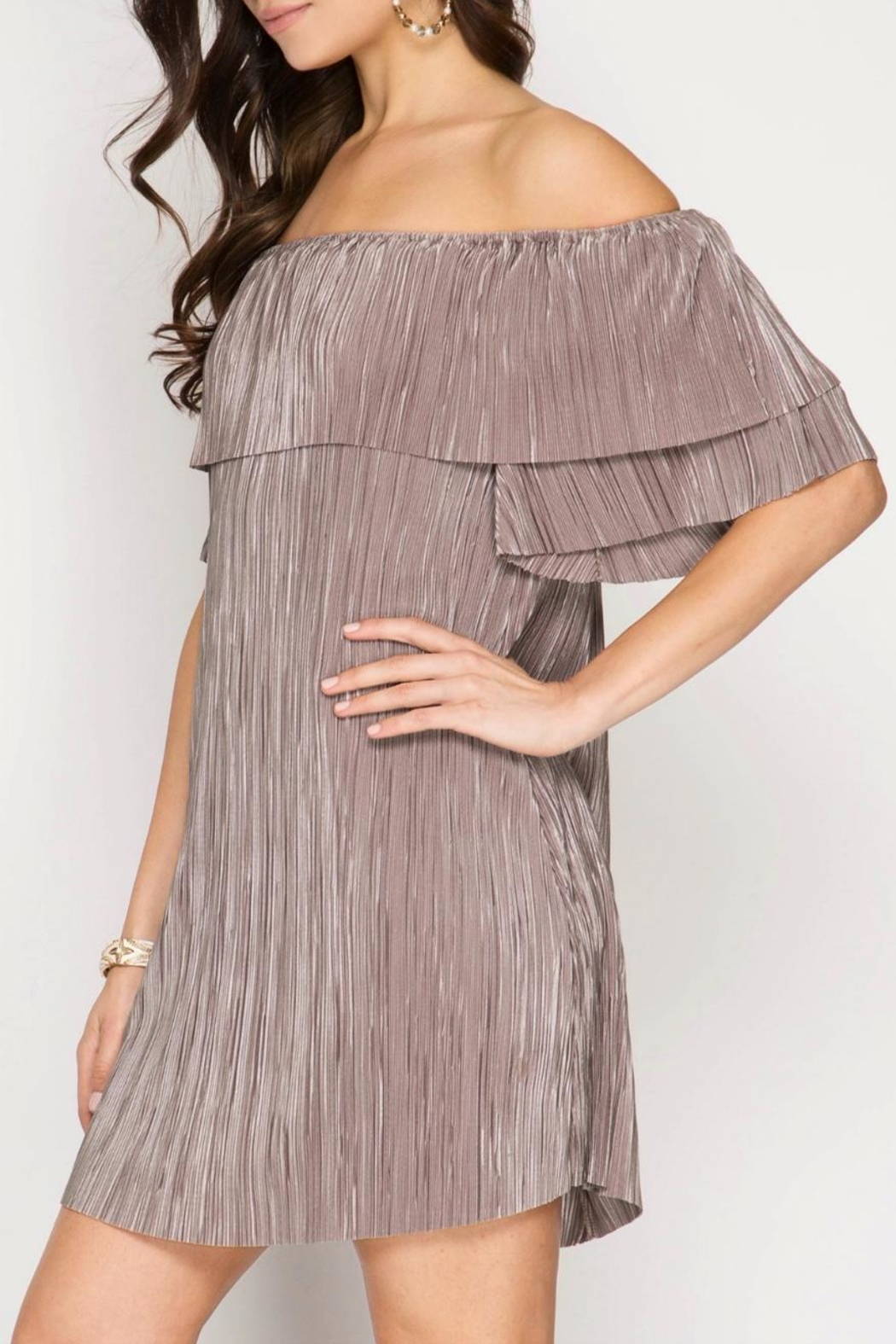 She + Sky Pleat Perfection Dress - Front Full Image