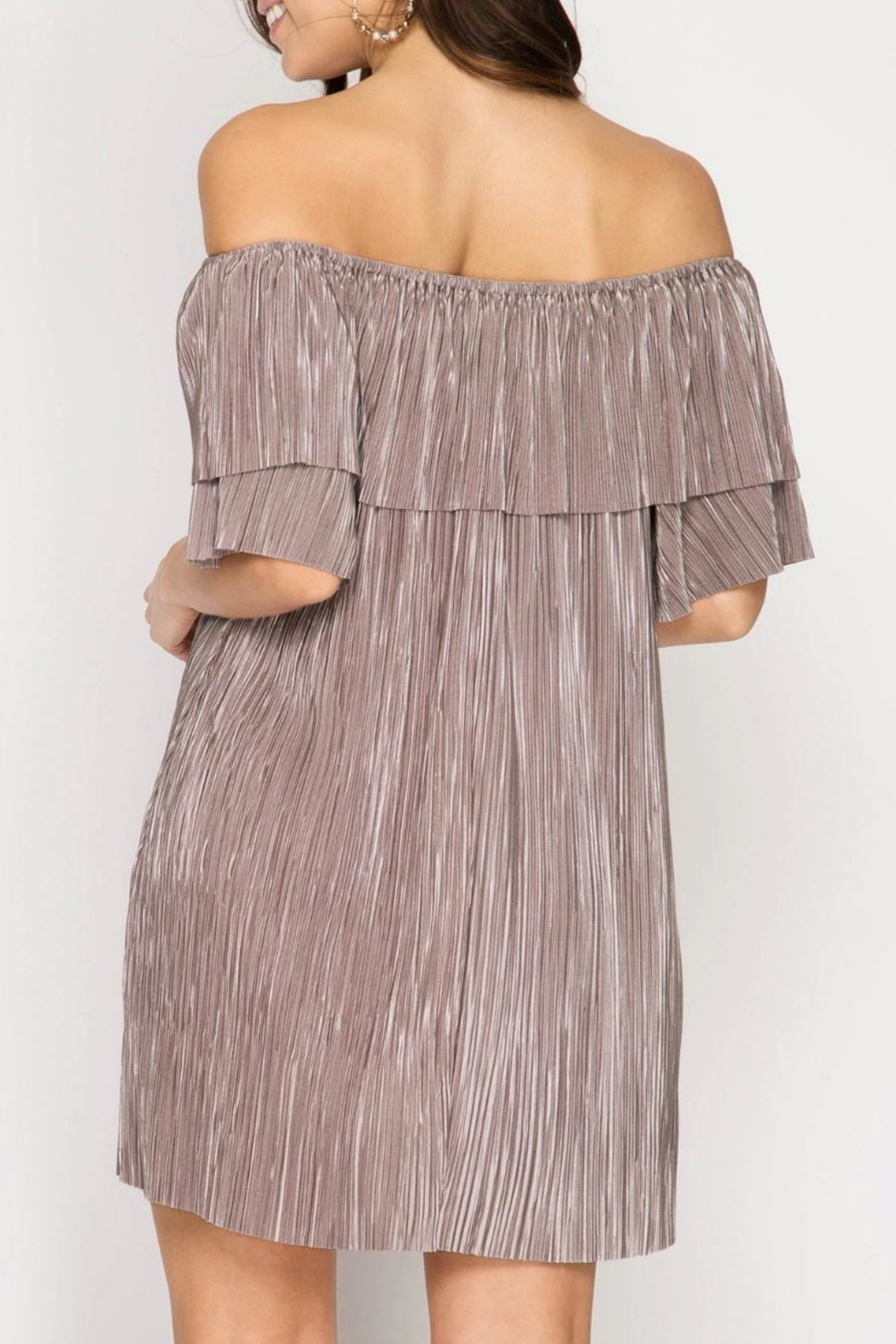 She + Sky Pleat Perfection Dress - Side Cropped Image