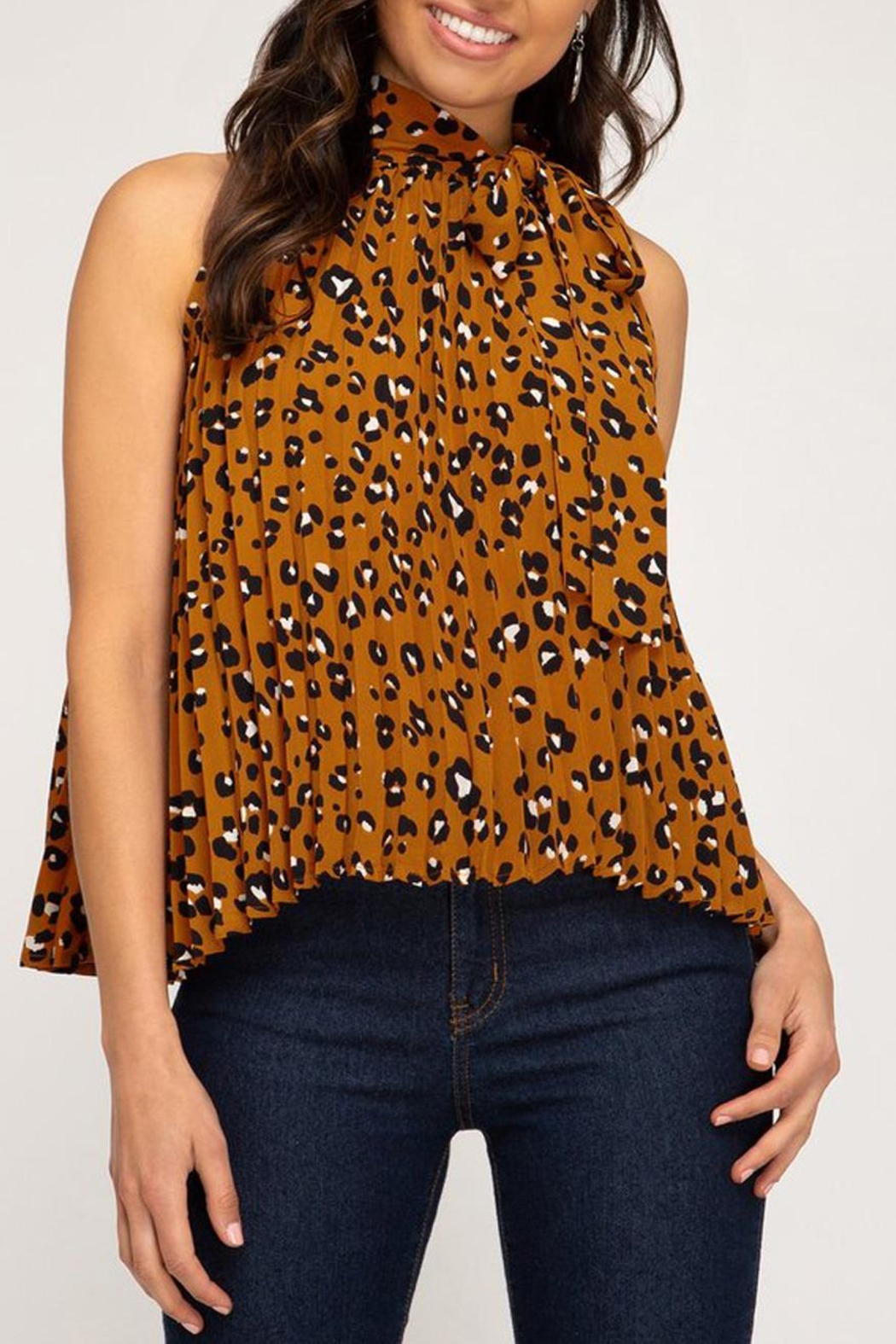 She + Sky Pleated Leopard Blouse - Front Full Image