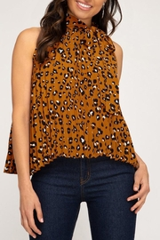 She + Sky Pleated Leopard Blouse - Front full body
