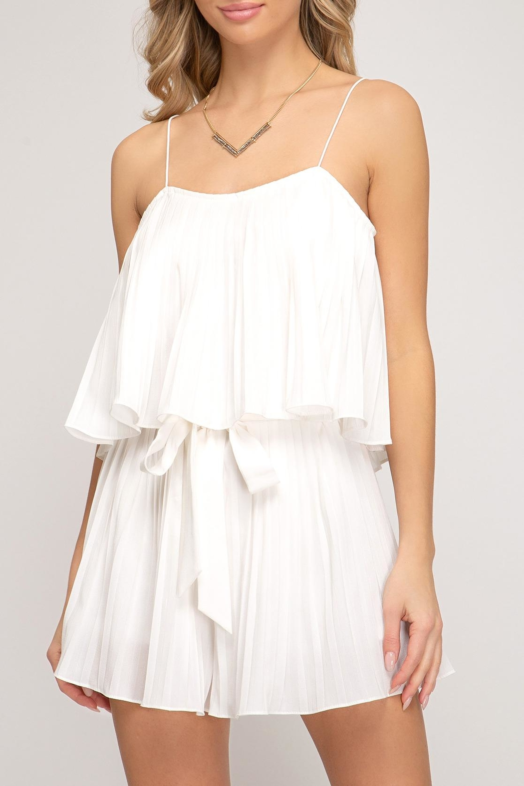 She + Sky Pleated Romper - Front Full Image