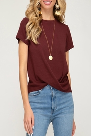 She + Sky Pleated Twist-Front Top - Product Mini Image