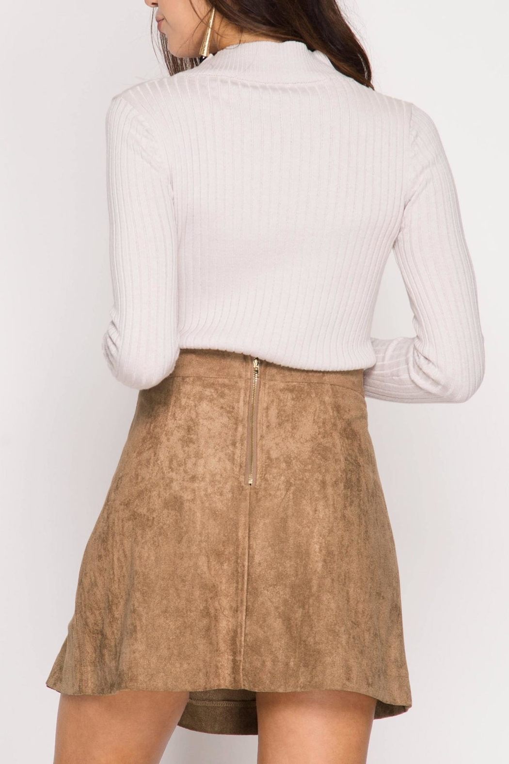 She + Sky Pleated Vegan Suede Skirt - Front Full Image