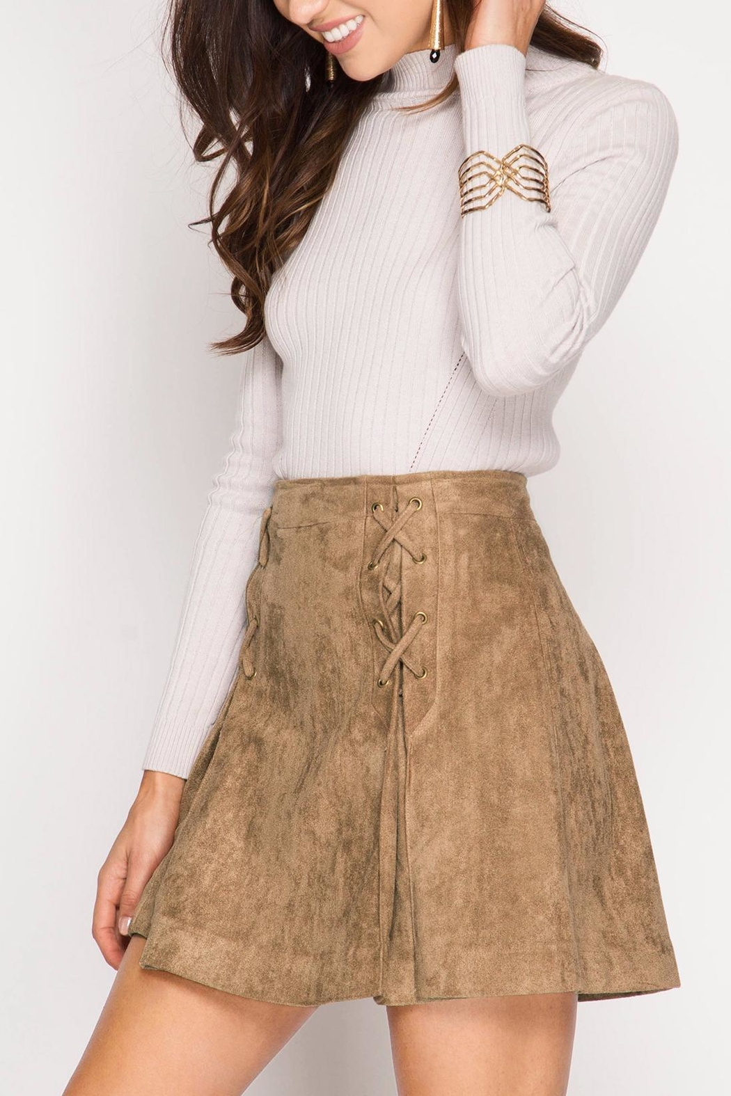 She + Sky Pleated Vegan Suede Skirt - Main Image