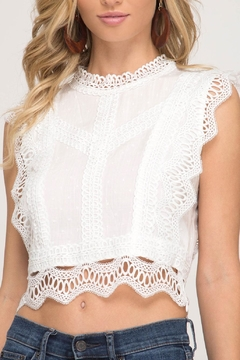 She + Sky Polka-Dot Crop Top - Product List Image